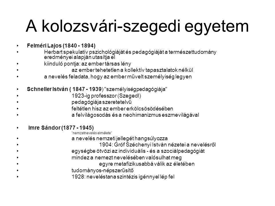 A kolozsvári-szegedi egyetem Felméri Lajos (1840 - 1894) Herbart spekulatív pszichológiáját és pedagógiáját a természettudomány eredményei alapján uta