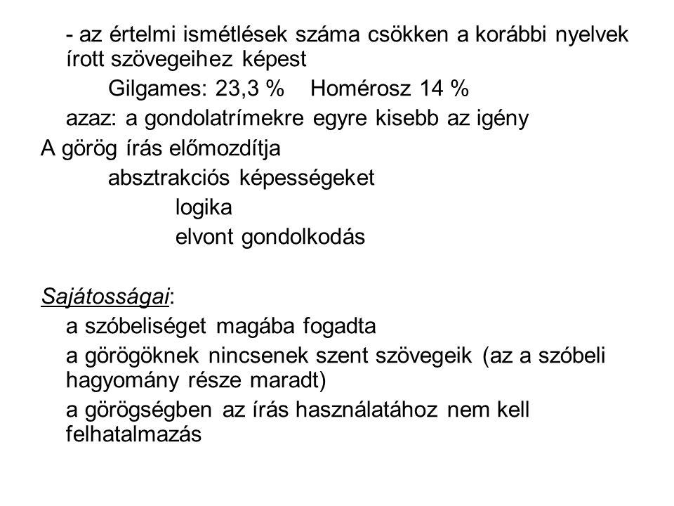 - az értelmi ismétlések száma csökken a korábbi nyelvek írott szövegeihez képest Gilgames: 23,3 % Homérosz 14 % azaz: a gondolatrímekre egyre kisebb a