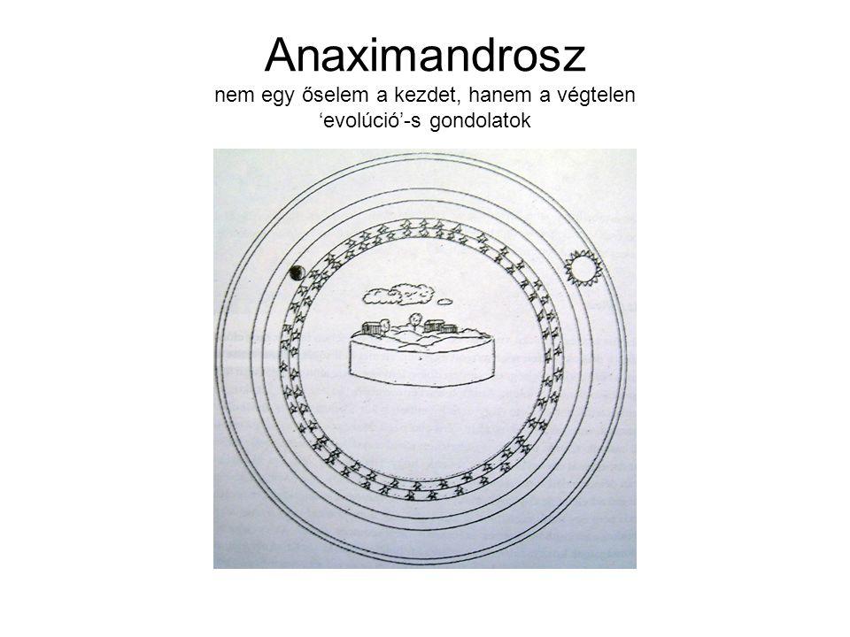 Anaximandrosz nem egy őselem a kezdet, hanem a végtelen 'evolúció'-s gondolatok
