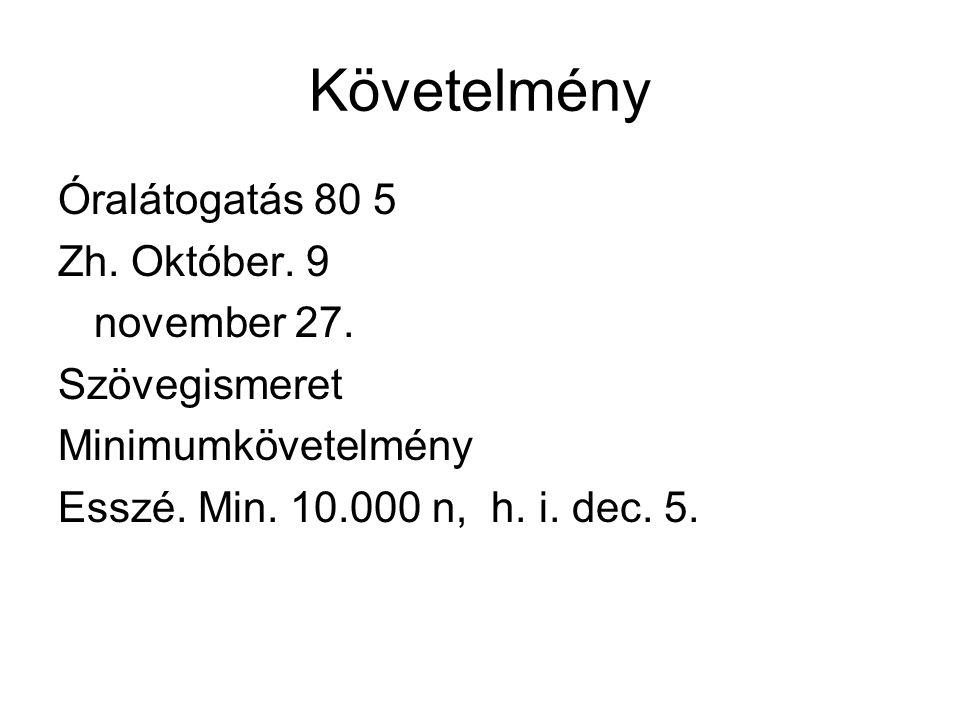 Követelmény Óralátogatás 80 5 Zh. Október. 9 november 27.