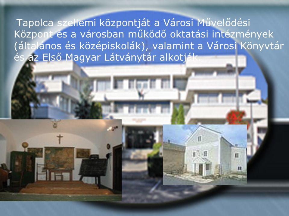 Tapolca szellemi központját a Városi Művelődési Központ és a városban működő oktatási intézmények (általános és középiskolák), valamint a Városi Könyvtár és az Első Magyar Látványtár alkotják.