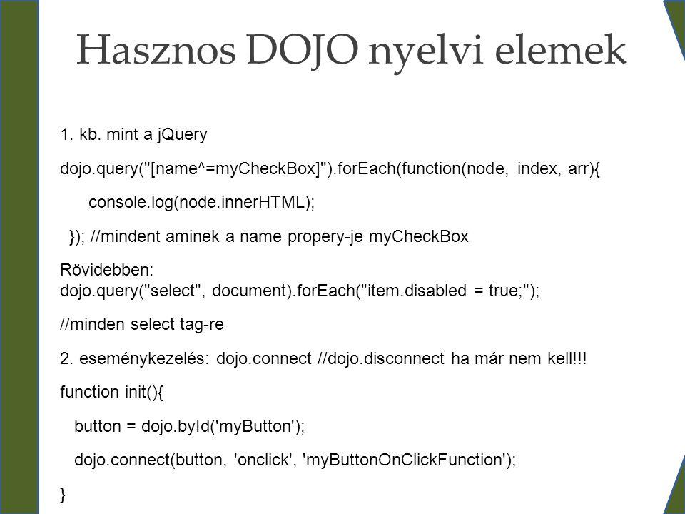 Hasznos DOJO nyelvi elemek 1. kb. mint a jQuery dojo.query(