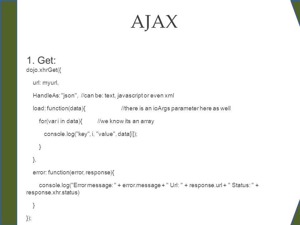 AJAX 1. Get: dojo.xhrGet({ url: myurl, HandleAs: