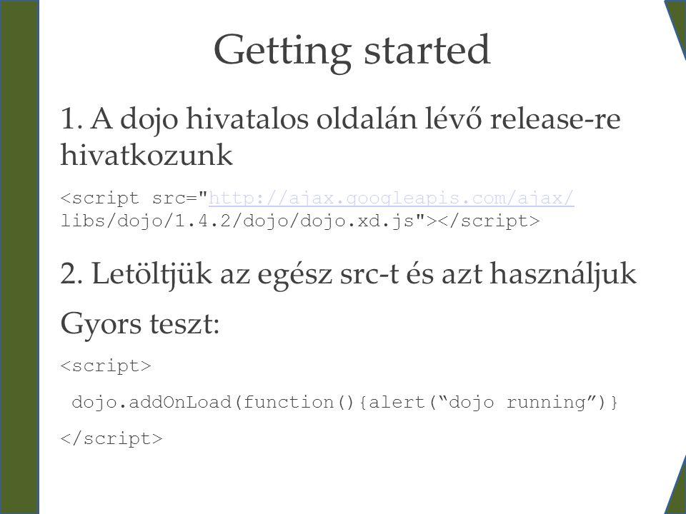 Getting started 1. A dojo hivatalos oldalán lévő release-re hivatkozunk 2. Letöltjük az egész src-t és azt használjukhttp://ajax.googleapis.com/ajax/