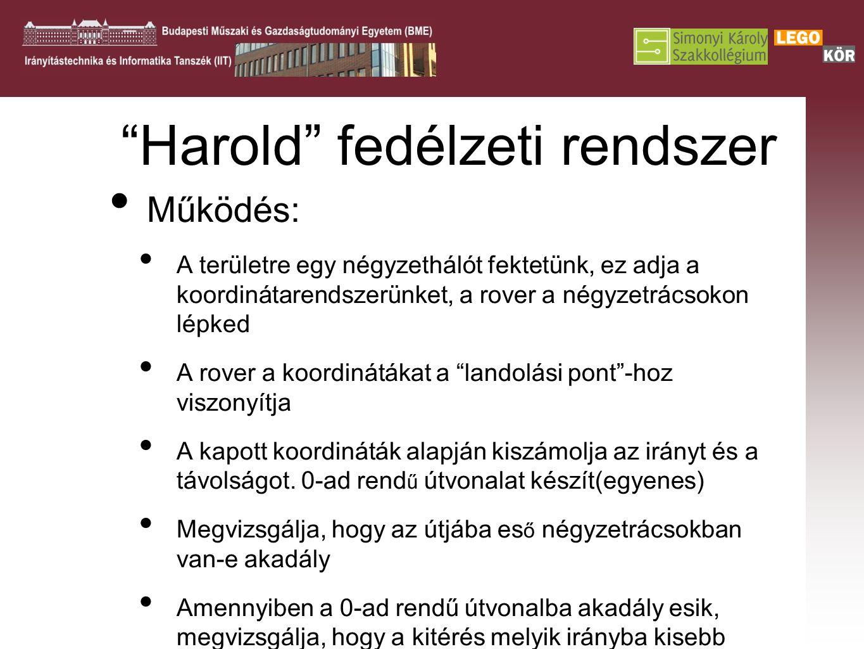 """""""Harold"""" fedélzeti rendszer Működés: A területre egy négyzethálót fektetünk, ez adja a koordinátarendszerünket, a rover a négyzetrácsokon lépked A rov"""
