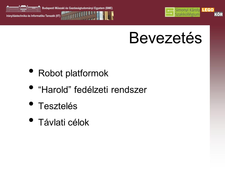 """Bevezetés Robot platformok """"Harold"""" fedélzeti rendszer Tesztelés Távlati célok"""