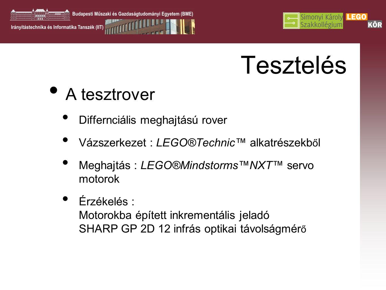 Tesztelés A tesztrover Differnciális meghajtású rover Vázszerkezet : LEGO®Technic™ alkatrészekb ő l Meghajtás : LEGO®Mindstorms™NXT™ servo motorok Érzékelés : Motorokba épített inkrementális jeladó SHARP GP 2D 12 infrás optikai távolságmér ő