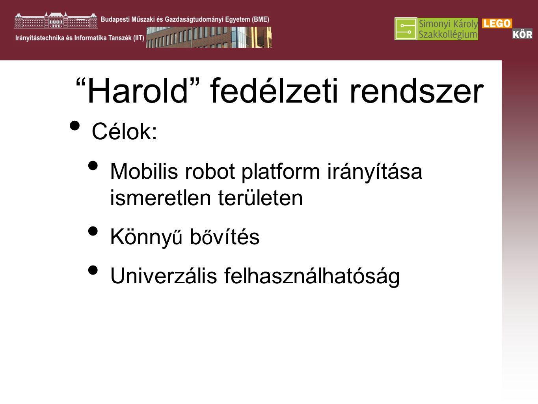 Harold fedélzeti rendszer Célok: Mobilis robot platform irányítása ismeretlen területen Könny ű b ő vítés Univerzális felhasználhatóság