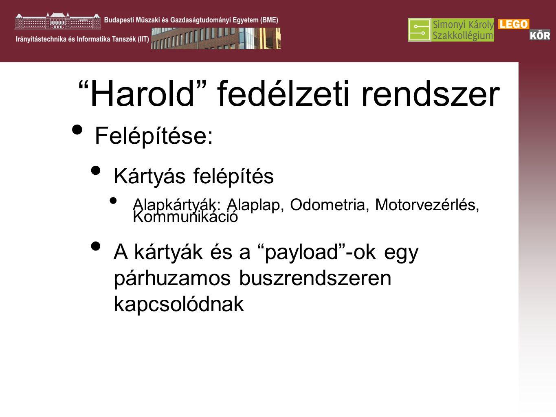 Harold fedélzeti rendszer Felépítése: Kártyás felépítés Alapkártyák: Alaplap, Odometria, Motorvezérlés, Kommunikáció A kártyák és a payload -ok egy párhuzamos buszrendszeren kapcsolódnak