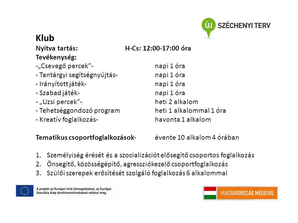 """Klub Nyitva tartás: H-Cs: 12:00-17:00 óra Tevékenység: -""""Csevegő percek - napi 1 óra - Tantárgyi segítségnyújtás- napi 1 óra - Irányított játék- napi 1 óra - Szabad játék- napi 1 óra - """"Uzsi percek -heti 2 alkalom - Tehetséggondozó programheti 1 alkalommal 1 óra - Kreatív foglalkozás-havonta 1 alkalom Tematikus csoportfoglalkozások- évente 10 alkalom 4 órában 1.Személyiség érését és a szocializációt elősegítő csoportos foglalkozás 2.Önsegítő, közösségépítő, agressziókezelő csoportfoglalkozás 3.Szülői szerepek erősítését szolgáló foglalkozás 6 alkalommal"""