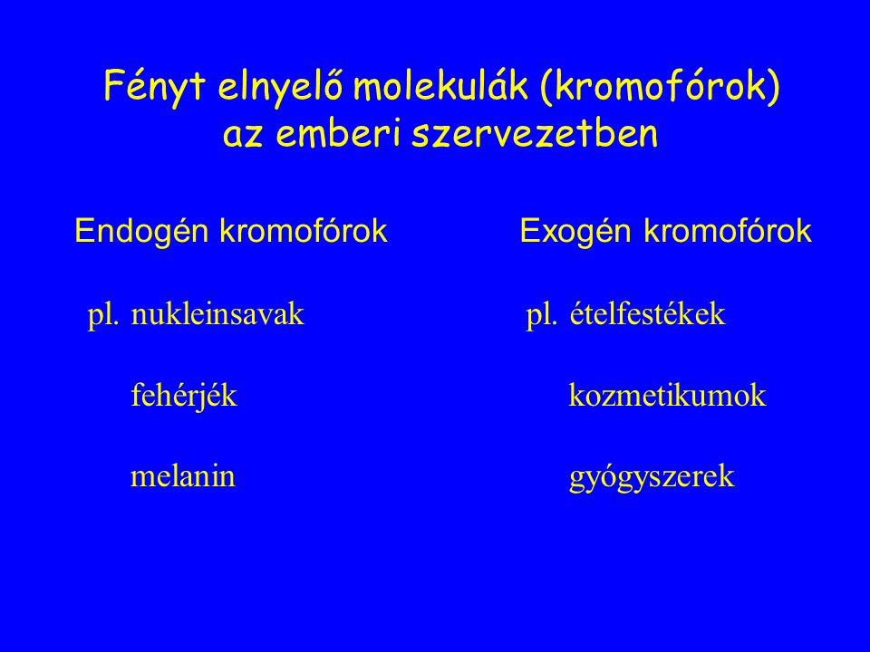 Fényt elnyelő molekulák (kromofórok) az emberi szervezetben Endogén kromofórokExogén kromofórok pl. ételfestékek kozmetikumok gyógyszerek pl. nukleins