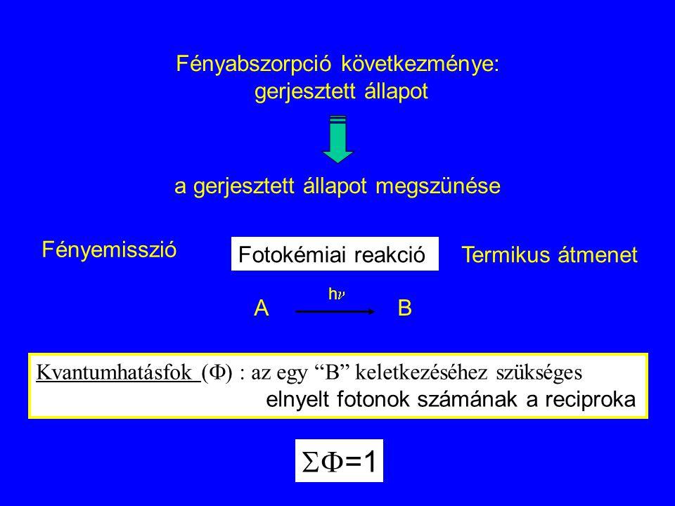 Fényabszorpció következménye: gerjesztett állapot a gerjesztett állapot megszünése Fényemisszió Fotokémiai reakcióTermikus átmenet Kvantumhatásfok ( 