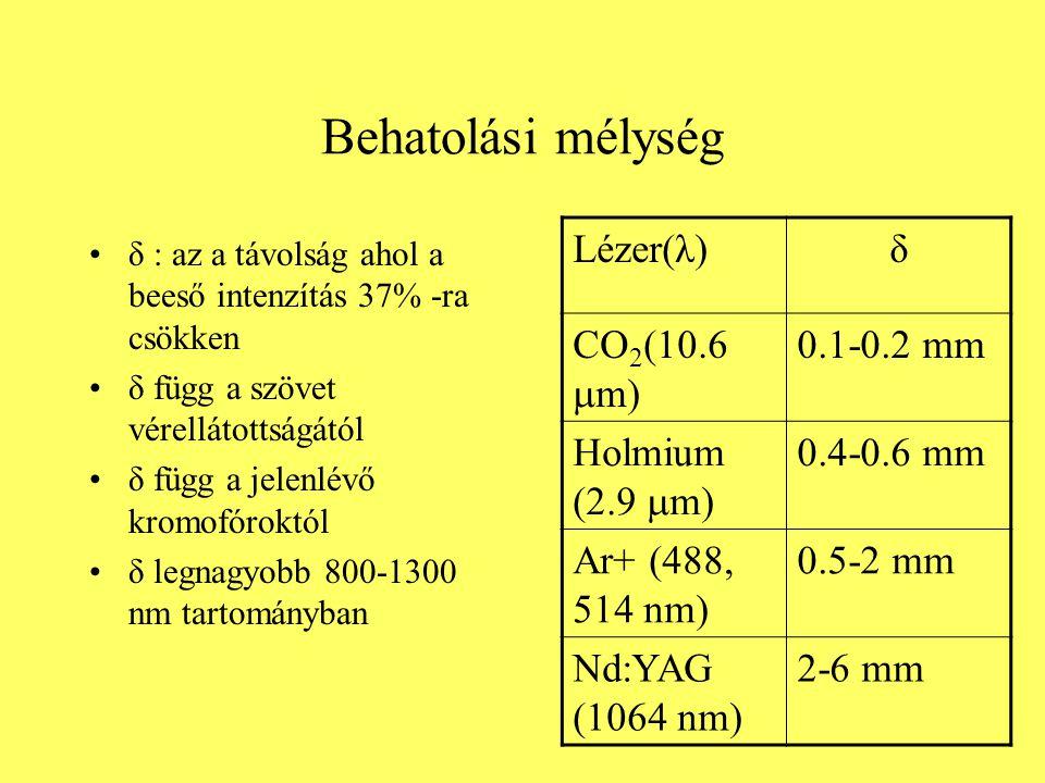 Behatolási mélység δ : az a távolság ahol a beeső intenzítás 37% -ra csökken δ függ a szövet vérellátottságától δ függ a jelenlévő kromofóroktól δ leg