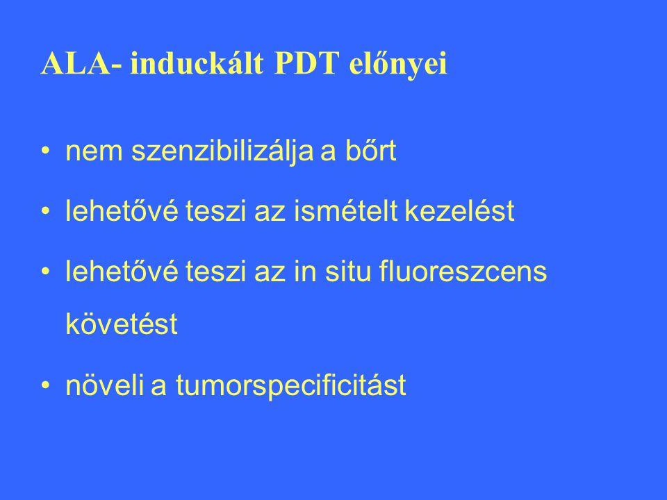 ALA- induckált PDT előnyei nem szenzibilizálja a bőrt lehetővé teszi az ismételt kezelést lehetővé teszi az in situ fluoreszcens követést növeli a tumorspecificitást