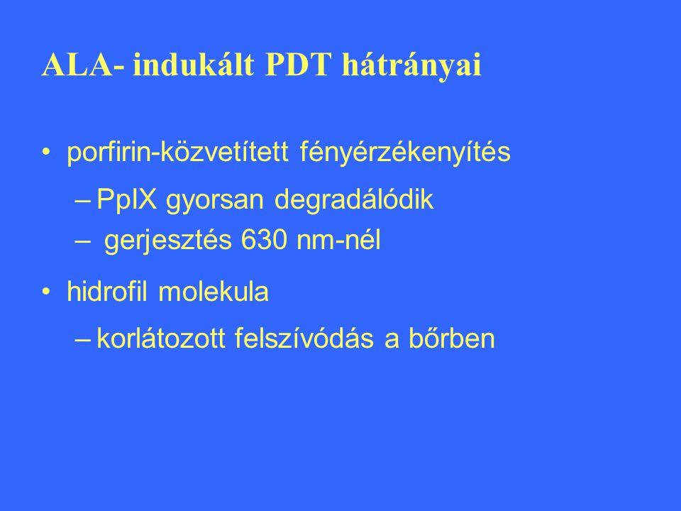 ALA- indukált PDT hátrányai porfirin-közvetített fényérzékenyítés –PpIX gyorsan degradálódik – gerjesztés 630 nm-nél hidrofil molekula –korlátozott fe