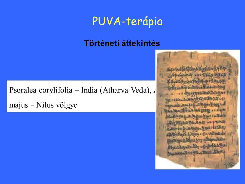 Történeti áttekintés PUVA-terápia Psoralea corylifolia – India (Atharva Veda), Ammi majus – Nilus völgye