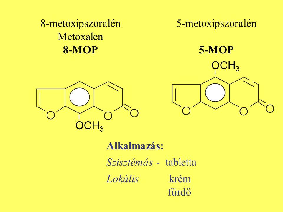 Alkalmazás: Szisztémás - tabletta Lokális krém fürdő OCH 3 8-metoxipszoralén Metoxalen 8-MOP 5-metoxipszoralén 5-MOP