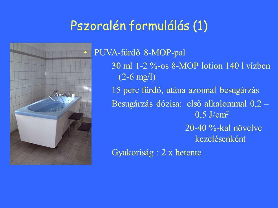 PUVA-fürdő 8-MOP-pal 30 ml 1-2 %-os 8-MOP lotion 140 l vízben (2-6 mg/l) 15 perc fürdő, utána azonnal besugárzás Besugárzás dózisa: első alkalommal 0,