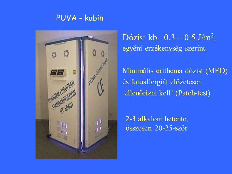PUVA - kabin Dózis: kb. 0.3 – 0.5 J/m 2, egyéni erzékenység szerint. Minimális erithema dózist (MED) és fotoallergiát előzetesen ellenőrizni kell! (Pa