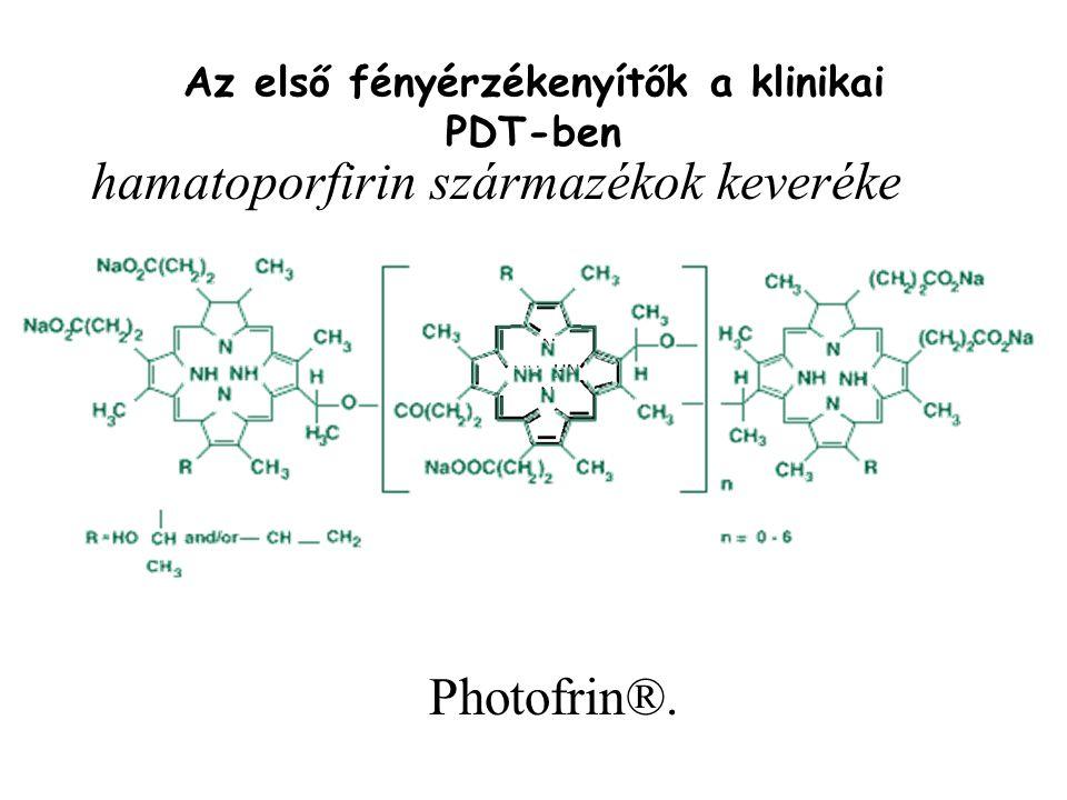 Az első fényérzékenyítők a klinikai PDT-ben Photofrin®. hamatoporfirin származékok keveréke