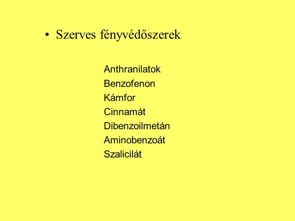Szerves fényvédőszerek Anthranilatok Benzofenon Kámfor Cinnamát Dibenzoilmetán Aminobenzoát Szalicilát