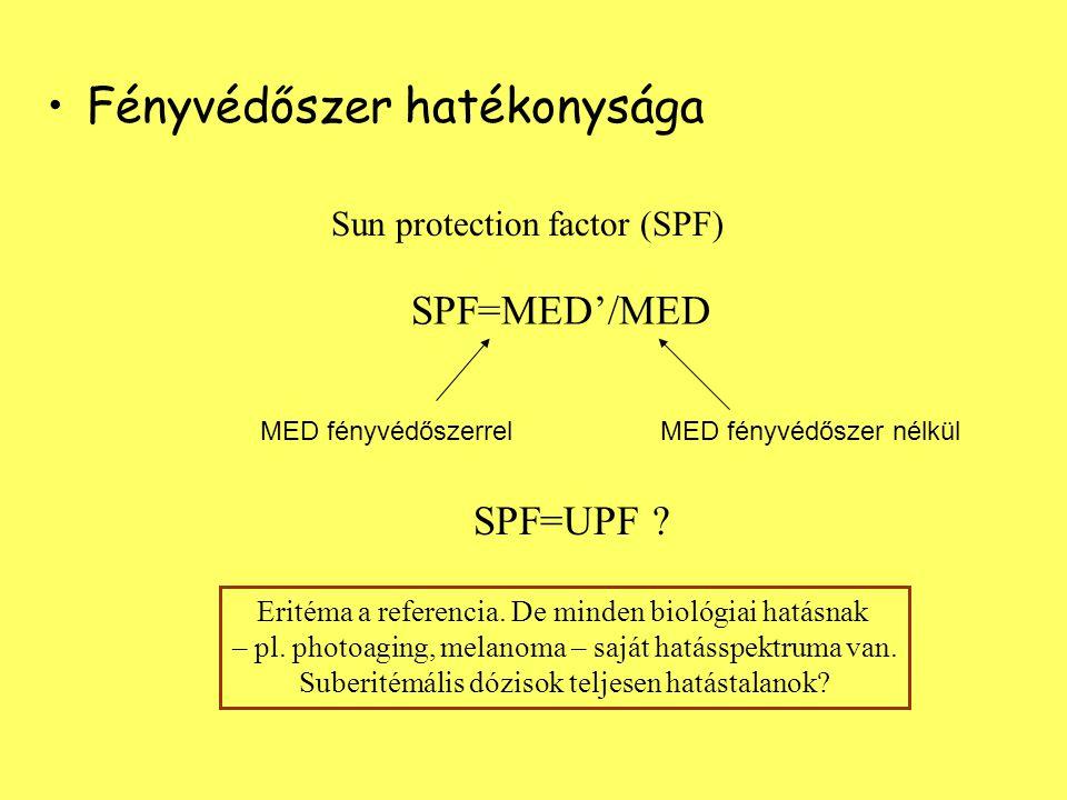 Fényvédőszer hatékonysága Sun protection factor (SPF) SPF=MED'/MED MED fényvédőszerrelMED fényvédőszer nélkül SPF=UPF .
