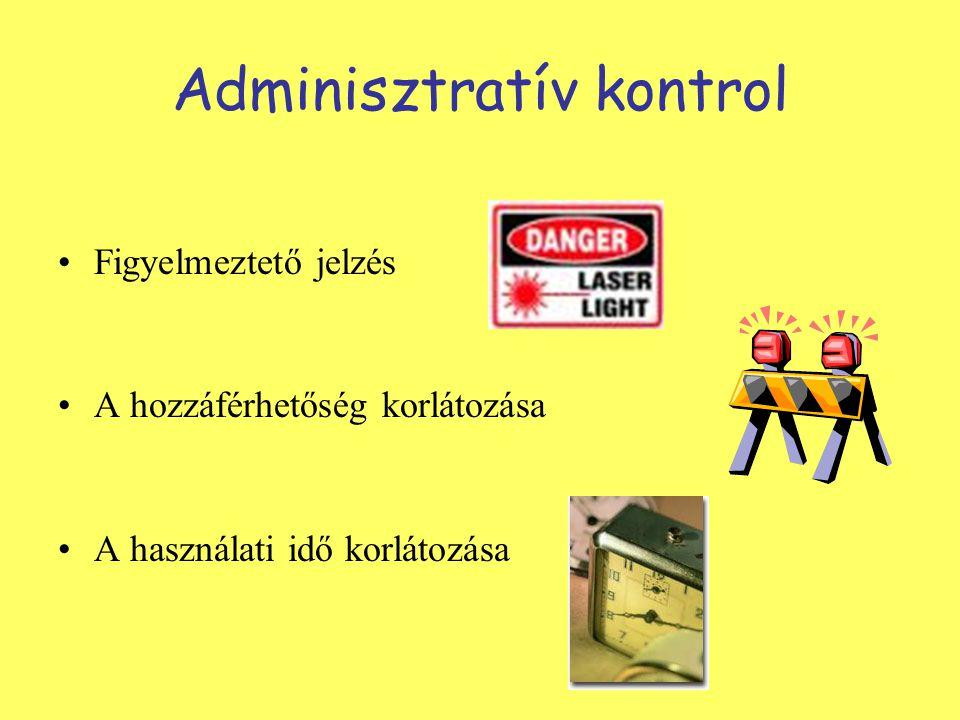 Adminisztratív kontrol Figyelmeztető jelzés A hozzáférhetőség korlátozása A használati idő korlátozása