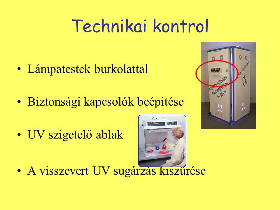 Technikai kontrol Lámpatestek burkolattal Biztonsági kapcsolók beépitése UV szigetelő ablak A visszevert UV sugárzás kiszűrése