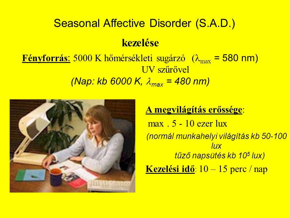 kezelése Fényforrás : 5000 K hőmérsékleti sugárzó  max = 580 nm) UV szűrővel (Nap: kb 6000 K, max = 480 nm) Seasonal Affective Disorder (S.A.D.) A me