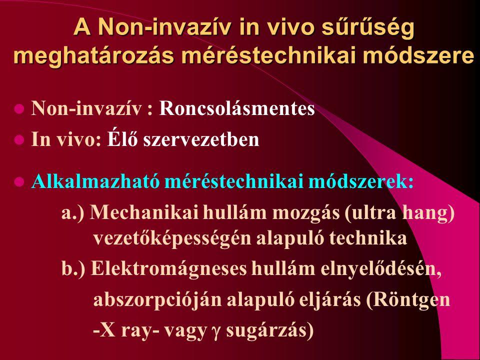 A Non-invazív in vivo sűrűség meghatározás méréstechnikai módszere Non-invazív : Roncsolásmentes In vivo: Élő szervezetben Alkalmazható méréstechnikai