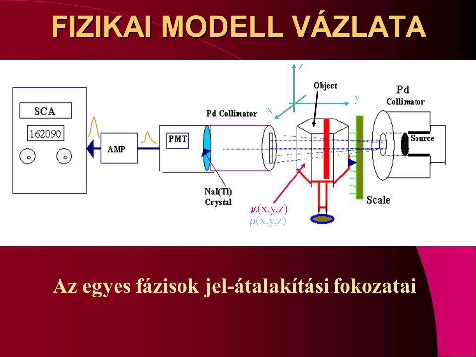 FIZIKAI MODELL VÁZLATA Az egyes fázisok jel-átalakítási fokozatai y x  (x,y,z)  (x,y,z) z