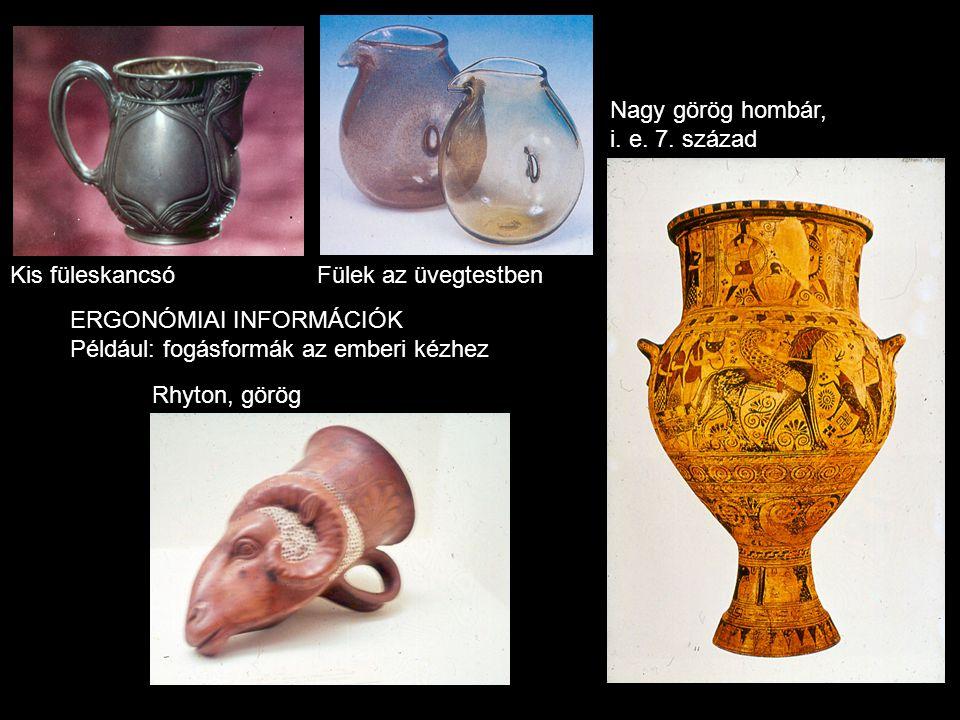 Kis füleskancsóFülek az üvegtestben Rhyton, görög Nagy görög hombár, i. e. 7. század ERGONÓMIAI INFORMÁCIÓK Például: fogásformák az emberi kézhez