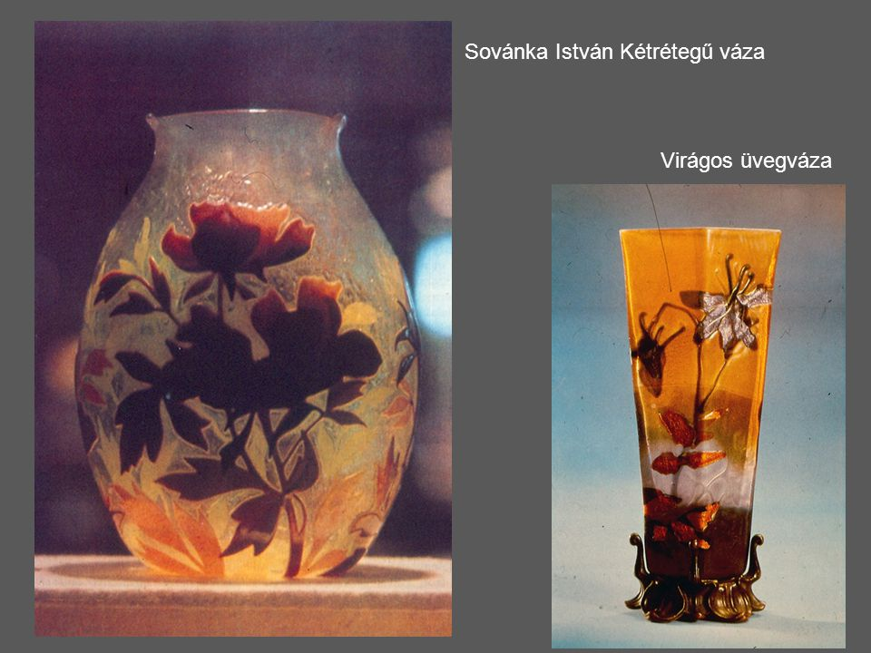 Sovánka István Kétrétegű váza Virágos üvegváza