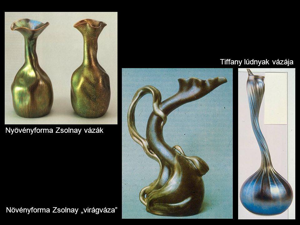 """Nyövényforma Zsolnay vázák Növényforma Zsolnay """"virágváza"""" Tiffany lúdnyak vázája"""