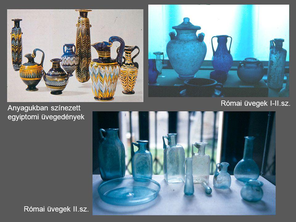 Anyagukban színezett egyiptomi üvegedények Római üvegek II.sz. Római üvegek I-II.sz.