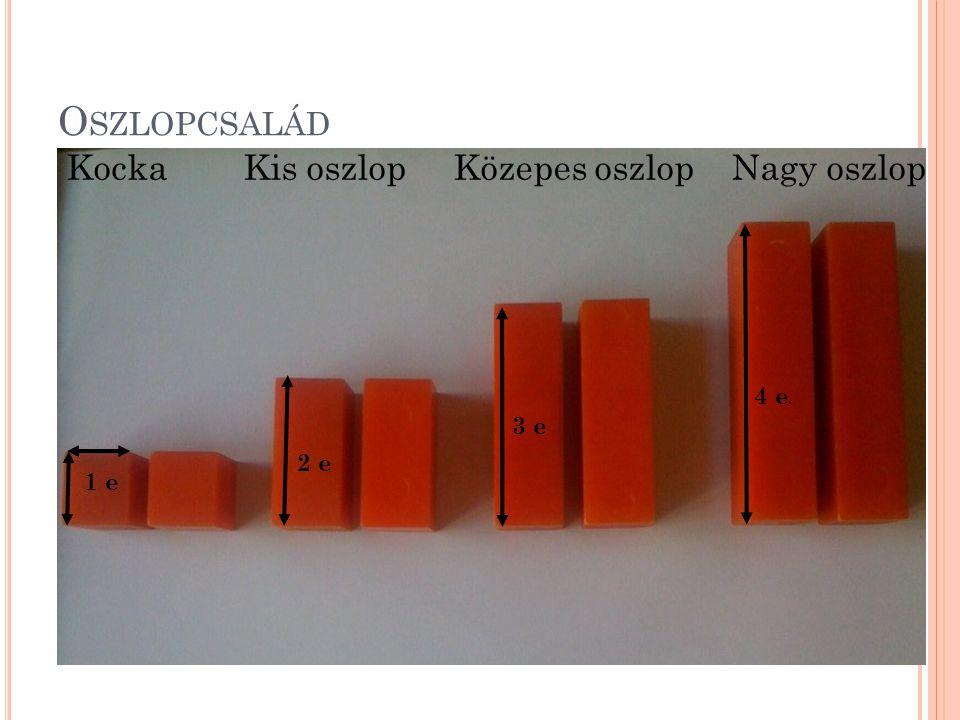 O SZLOPCSALÁD Kocka Kis oszlop Közepes oszlop Nagy oszlop 1 e 2 e 3 e 4 e