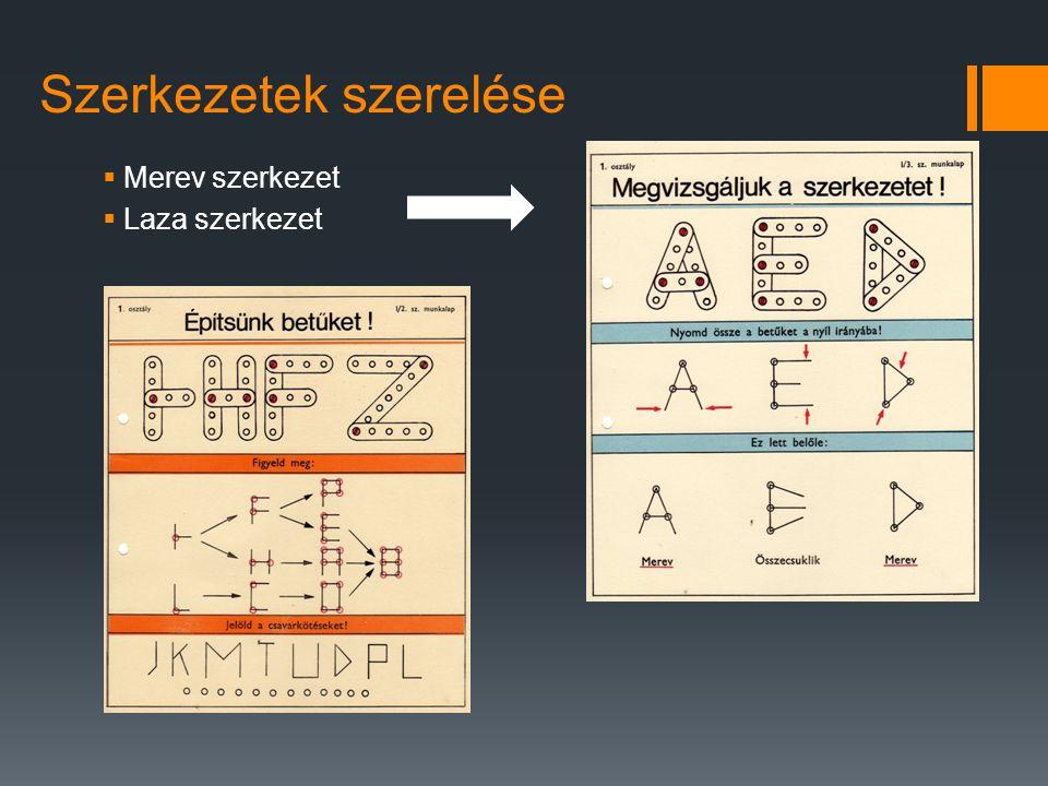 Szerkezetek szerelése  Merev szerkezet  Laza szerkezet