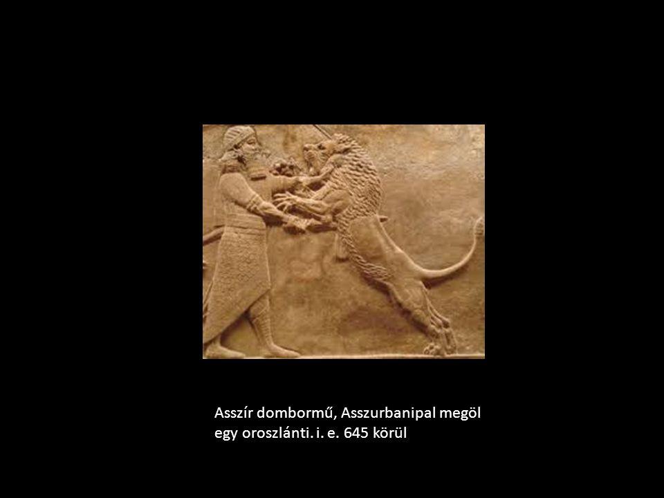 Asszír dombormű, Asszurbanipal megöl egy oroszlánti. i. e. 645 körül