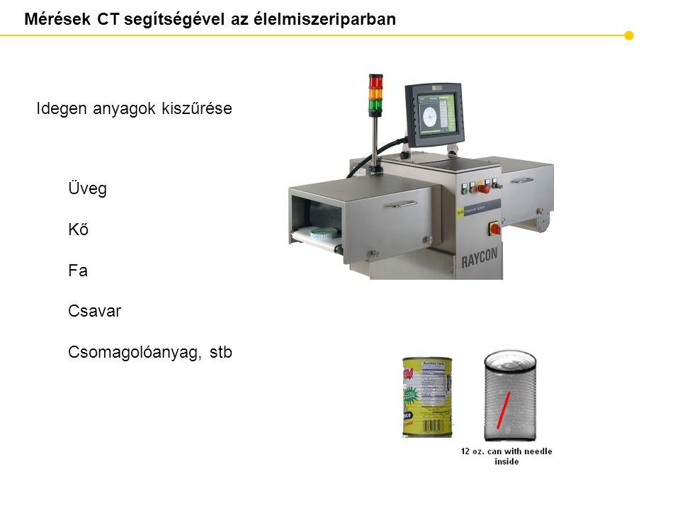 Mérések CT segítségével az élelmiszeriparban Idegen anyagok kiszűrése Üveg Kő Fa Csavar Csomagolóanyag, stb