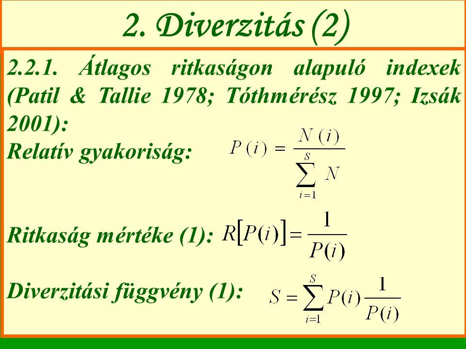 2. Diverzitás (2) 2.2.1. Átlagos ritkaságon alapuló indexek (Patil & Tallie 1978; Tóthmérész 1997; Izsák 2001): Relatív gyakoriság: Ritkaság mértéke (