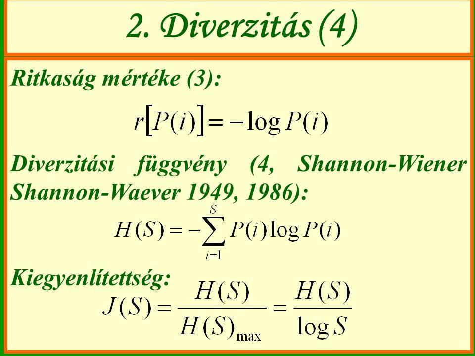 Ritkaság mértéke (3): Diverzitási függvény (4, Shannon-Wiener Shannon-Waever 1949, 1986): Kiegyenlítettség: 2. Diverzitás (4)