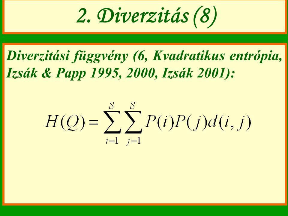 Diverzitási függvény (6, Kvadratikus entrópia, Izsák & Papp 1995, 2000, Izsák 2001): 2. Diverzitás (8)