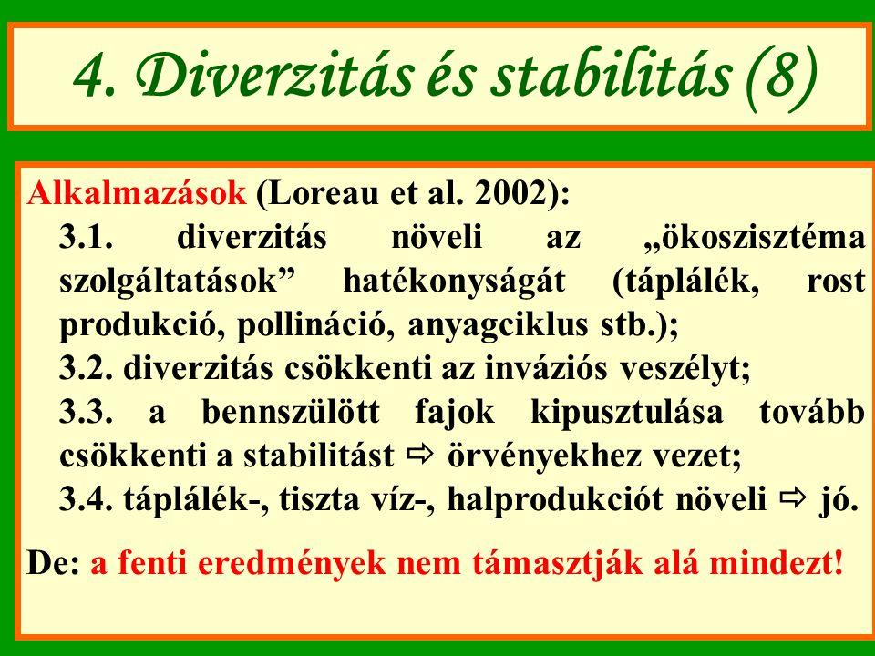 """4. Diverzitás és stabilitás (8) Alkalmazások (Loreau et al. 2002): 3.1. diverzitás növeli az """"ökoszisztéma szolgáltatások"""" hatékonyságát (táplálék, ro"""