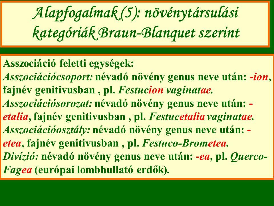Alapfogalmak (5): növénytársulási kategóriák Braun-Blanquet szerint Asszociáció feletti egységek: Asszociációcsoport: névadó növény genus neve után: -ion, fajnév genitivusban, pl.