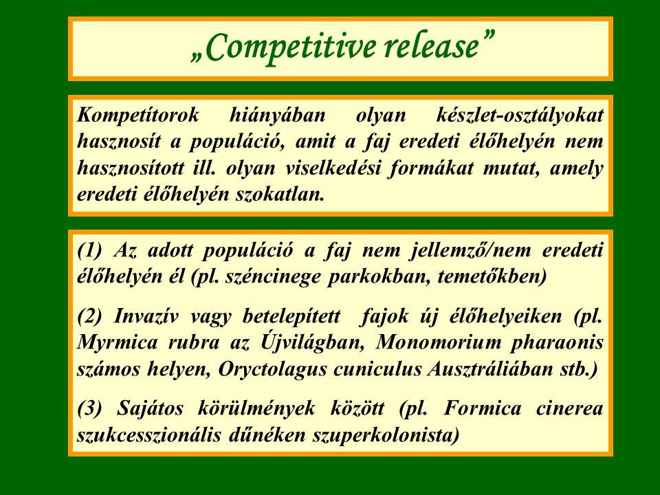 """""""Competitive release"""" Kompetítorok hiányában olyan készlet-osztályokat hasznosít a populáció, amit a faj eredeti élőhelyén nem hasznosított ill. olyan"""