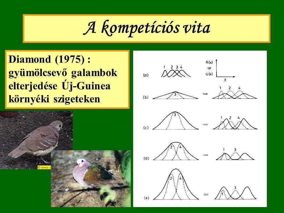 A kompetíciós vita Diamond (1975) : gyümölcsevő galambok elterjedése Új-Guinea környéki szigeteken