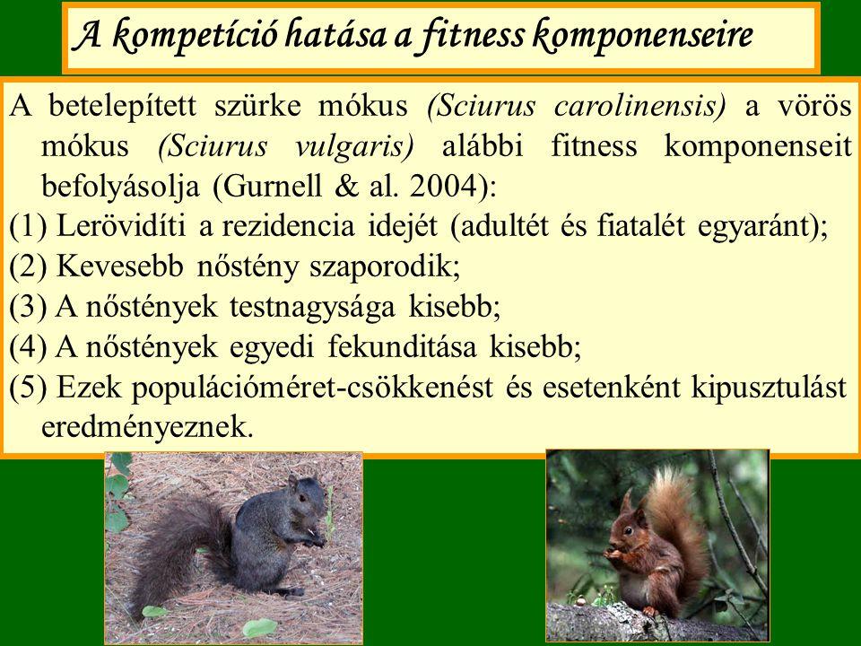 A betelepített szürke mókus (Sciurus carolinensis) a vörös mókus (Sciurus vulgaris) alábbi fitness komponenseit befolyásolja (Gurnell & al. 2004): (1)
