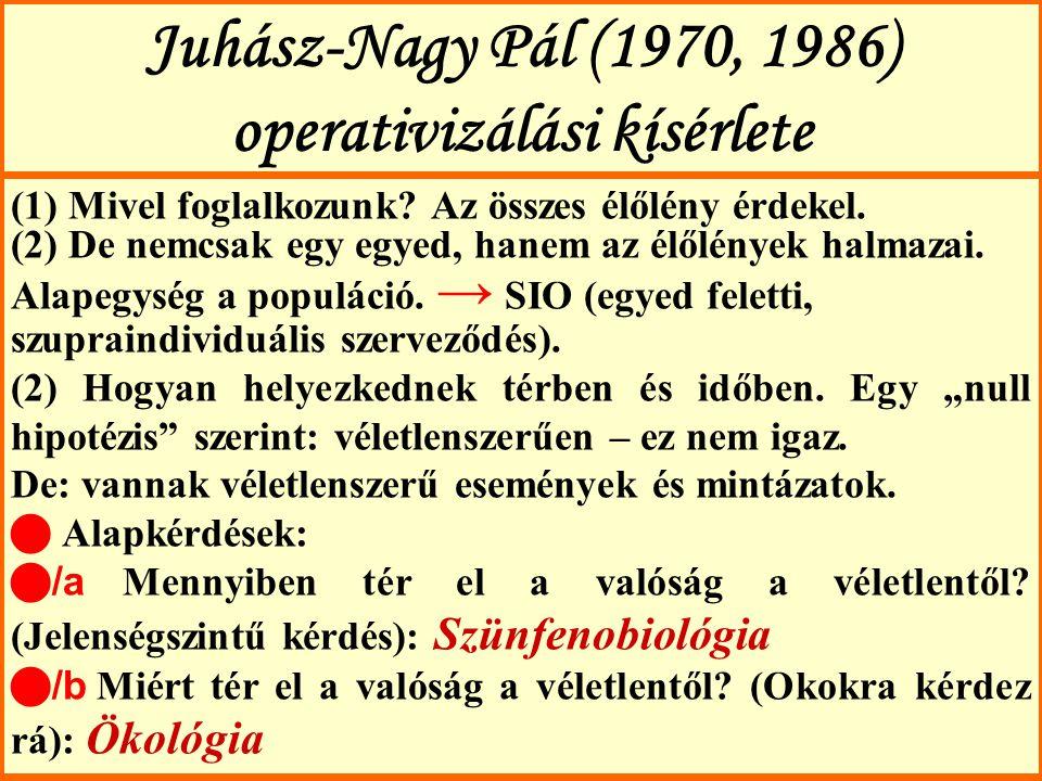 Juhász-Nagy Pál (1970, 1986) operativizálási kísérlete (1) Mivel foglalkozunk? Az összes élőlény érdekel. (2) De nemcsak egy egyed, hanem az élőlények