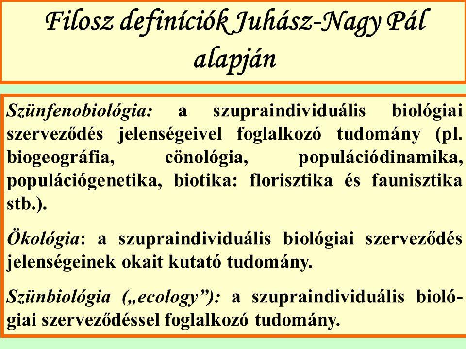 Filosz definíciók Juhász-Nagy Pál alapján Szünfenobiológia: a szupraindividuális biológiai szerveződés jelenségeivel foglalkozó tudomány (pl. biogeogr