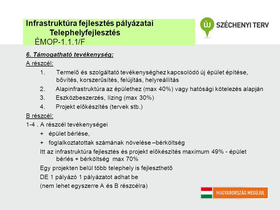 6. Támogatható tevékenység: A részcél: 1.Termelő és szolgáltató tevékenységhez kapcsolódó új épület építése, bővítés, korszerűsítés, felújítás, helyre